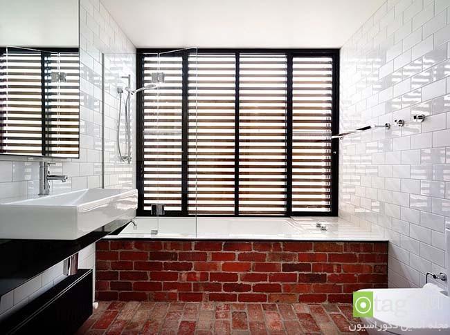 دیوار آجری در حمام ، 20 عکس از حمام هایی با طراحی متفاوت